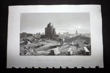 Wright 1860 Antique Print. Ruins South Side of Old Delhi, India